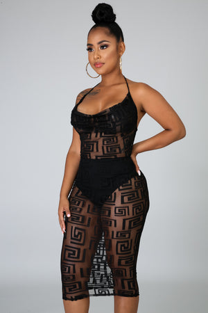 Sheer Maze Body-Con Dress