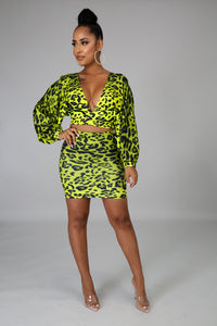 Copy of Neon Cheetah Mini Skirt Set-2/19 | GitiOnline