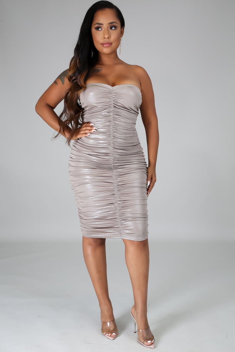 Shine Tube Scrunched Dress