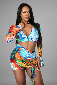3pc Tropical  Baecation Skirt Set