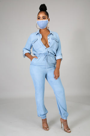 When We Leaving Denim Jumpsuit