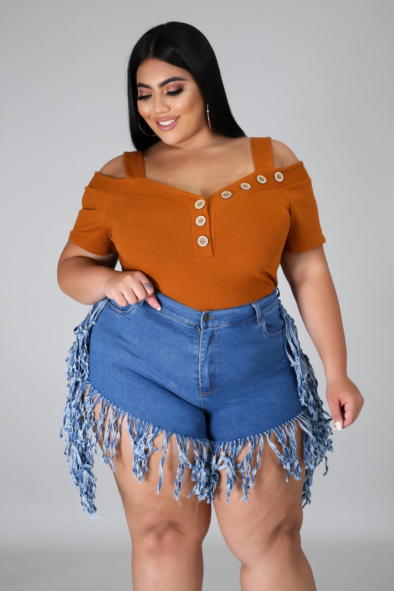 Fringe For You Denim Shorts