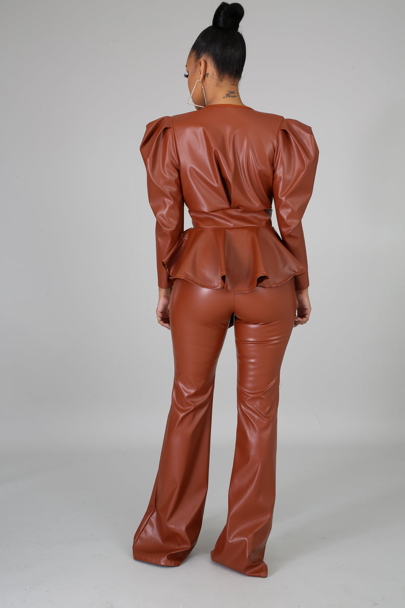 Leatherette Flare Pant Set | GitiOnline