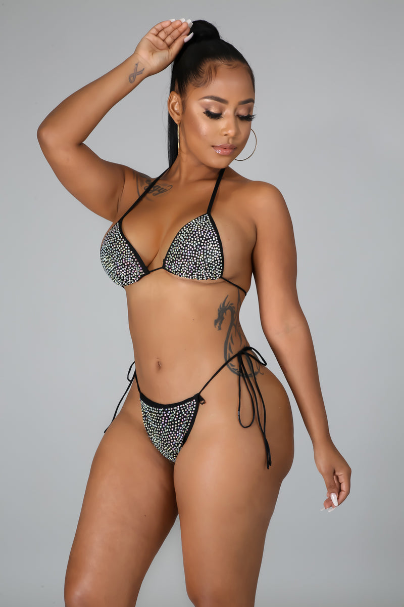 Sheer Rhinestone Swim Set