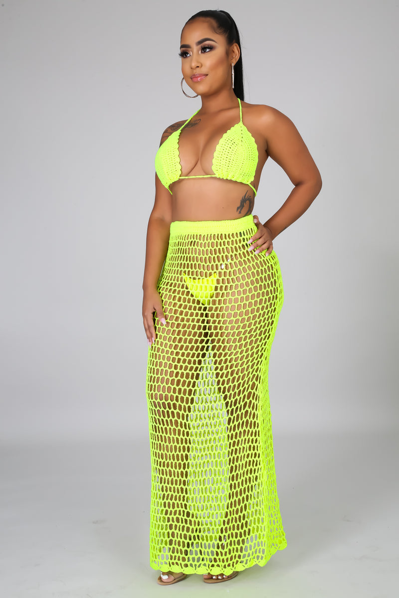 Neon Crochet Skirt Set