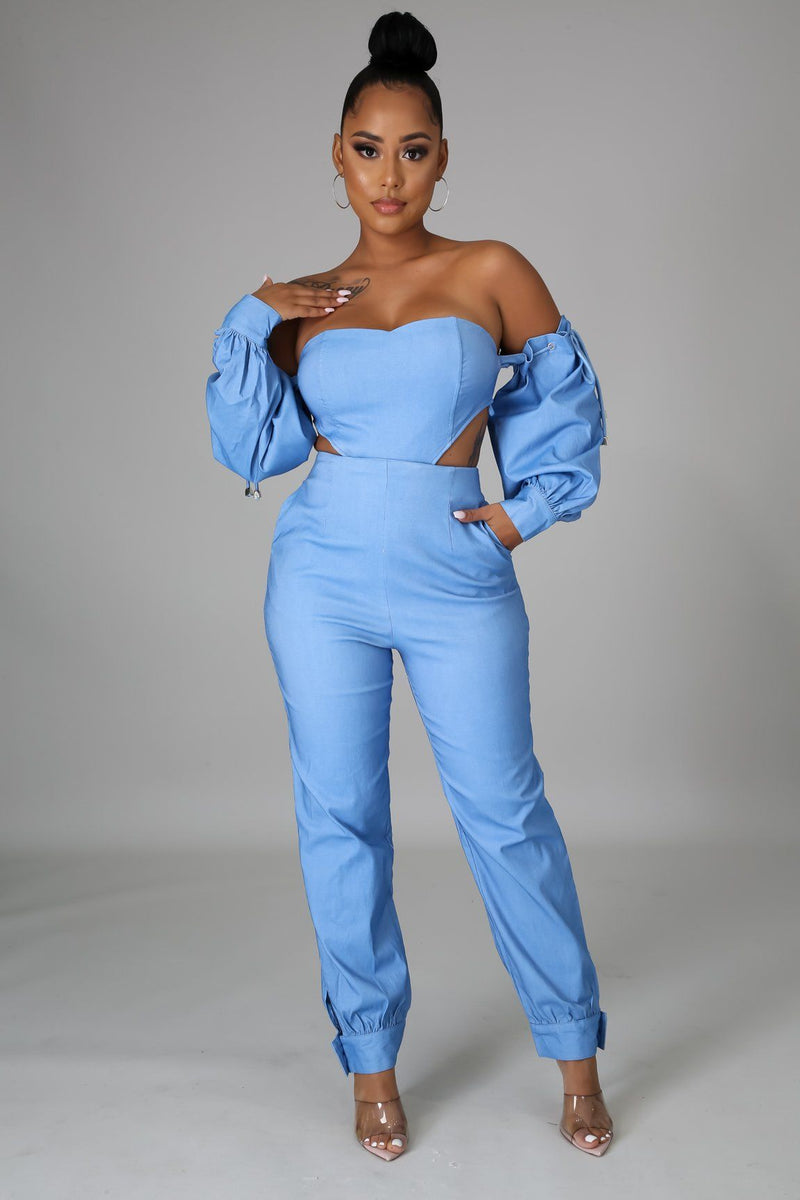 Kick Off The Weekend Denim Jumpsuit