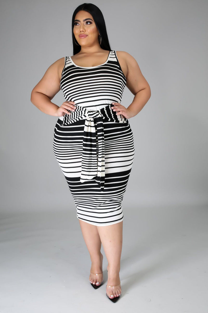 Black Stripe Tie Midi Dress