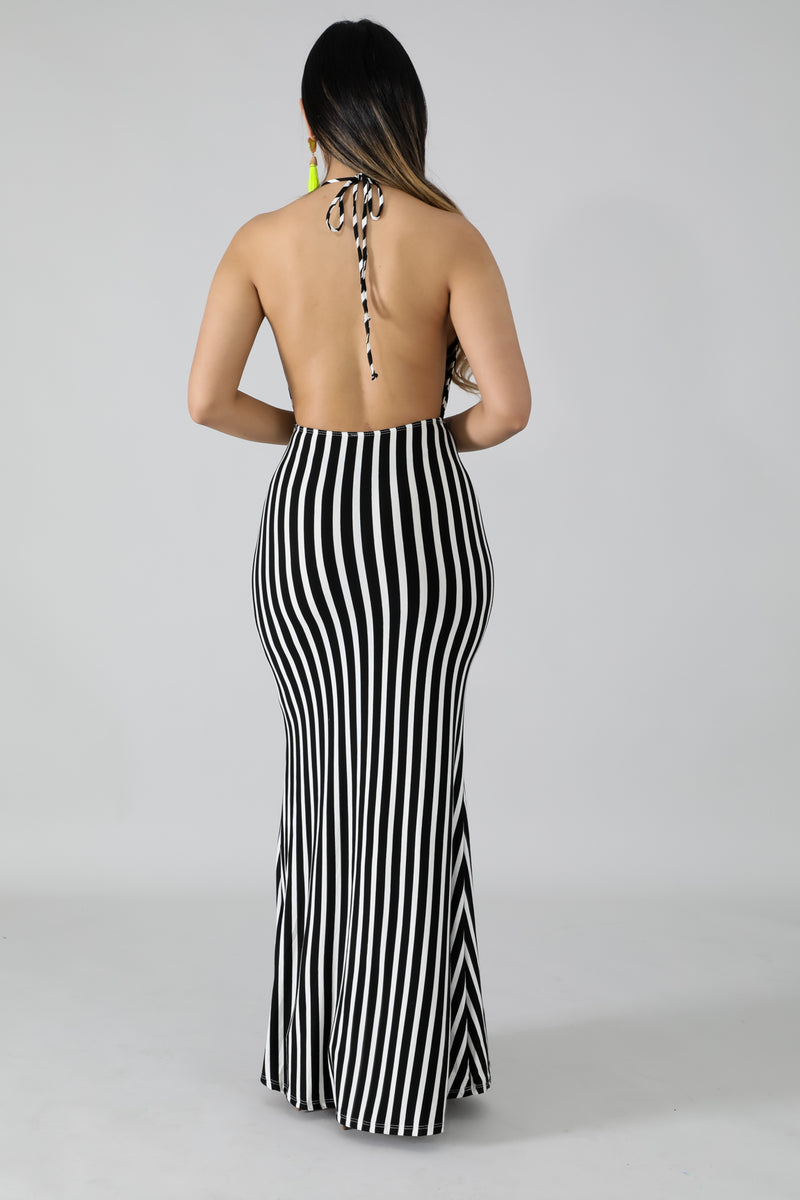 Zebra Cut Out Maxi Dress