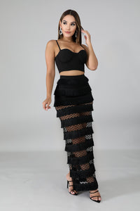 Swing Fringe Maxi Skirt Set