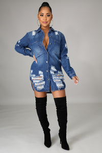 Here For It Denim Tunic Dress
