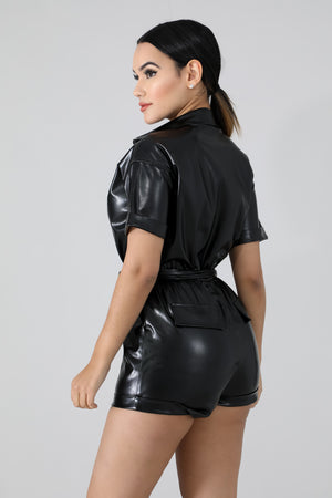 Leatherette Night Out Romper
