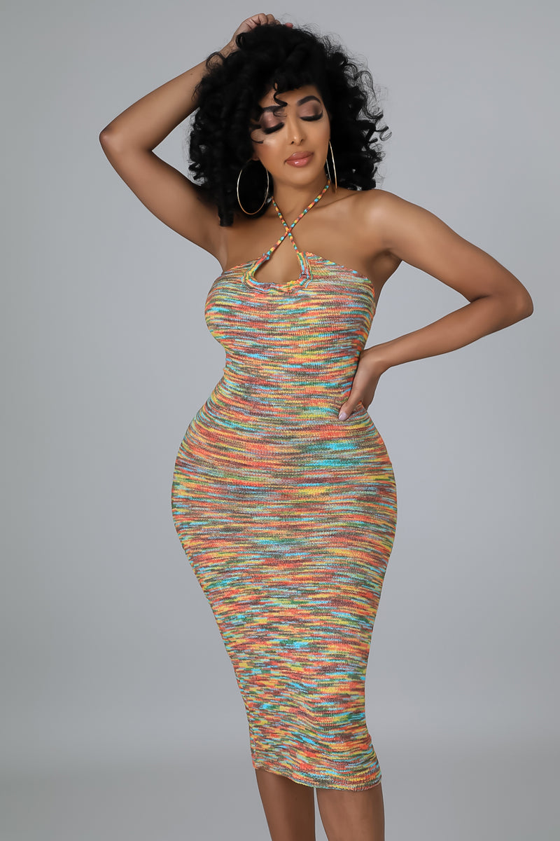 Sheer Tie Dye Tube Midi Dress