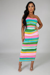Ruched Color Midi Dress