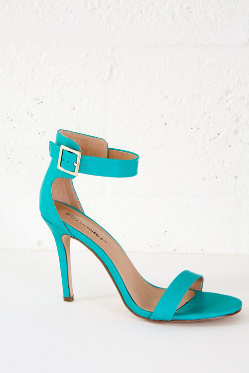 Faux Leather Single Sole Ankle Strap Heels