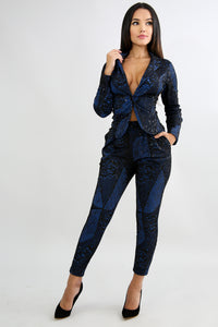Net Sequin Blazer Set