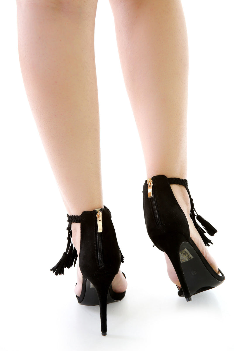 Faux Suede Fringe Tassel Single Sole Heels