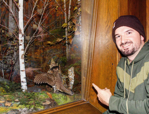 Hanging with a stuffed ruffed grouse at New York City's Museum of Natural History. One of the few on the east side of the Appalachians.