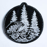 Woods & Waves circle logo patch