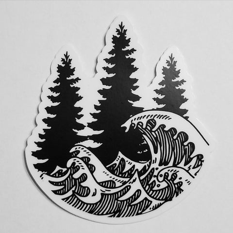 Woods & Waves logo decal