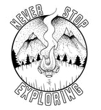 Never Stop Exploring decal - Woods & Waves - 1