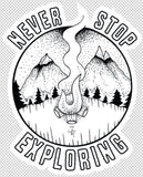 Never Stop Exploring decal - Woods & Waves - 2