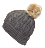 Fleecey Lined Bobble Hat with Faux Fur Pom Pom