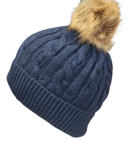 Fleecey Lined Hat with Faux Fur Pom Pom