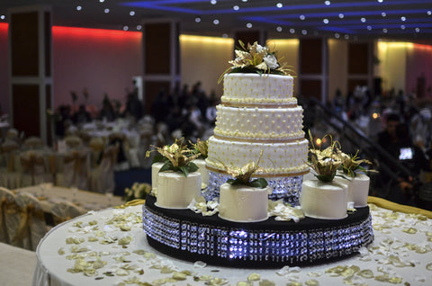3 Tier Crystal Tower Collection With Fresh Cream Cakes Code W63