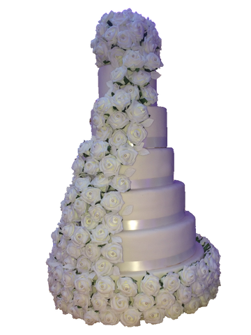 5 Tier Tower Cake With Silk Rose Flower Base Code W44