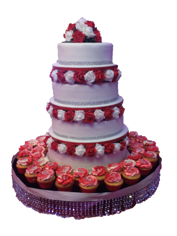 4 Tier Crystal Tower Cake with Cupcakes Code W45