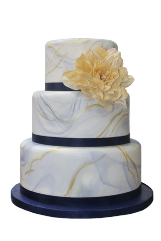 3 Tier Light Marble Vein Effect Cake NW09