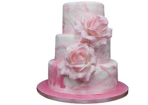 3 Tier Pink Marble Vein Effect Cake NW12