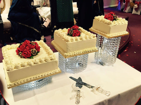 3 Tier Crystal Square Cake code W52