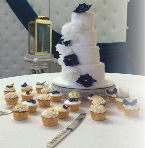 4 Tier Tower Cake With Cupcakes Code W85