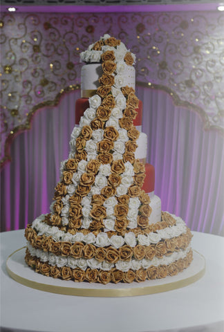 5 Tier Tower Cake with Rose Base Code W106