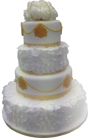 4 Tier Golden Petal Tower Cake Code W110