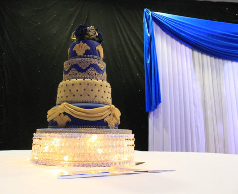 Navy Blue and Gold Crystal stand cake w114