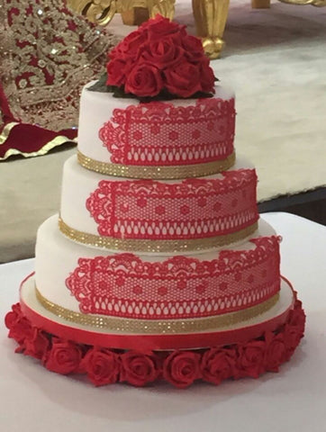 3 Tier Tower Cake With Rose Flower Base Code W79