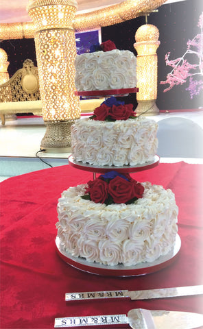 3 Tier Rose Step Stand Cake Code W84