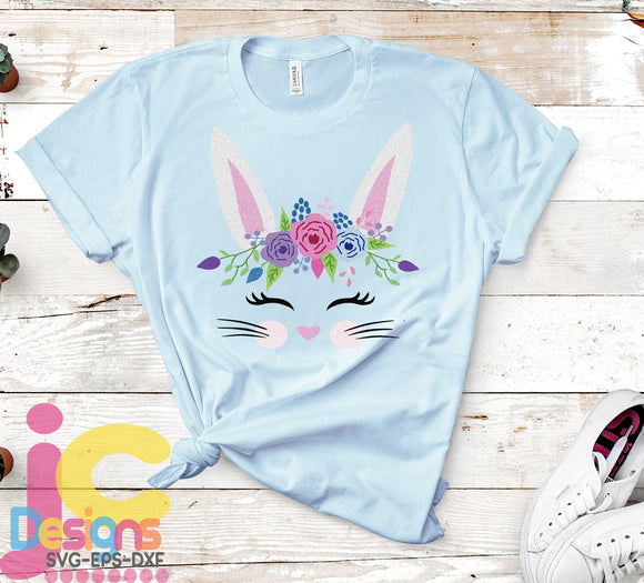 Easter Girl Bunny Face SVG, EPS, DXF and PNG - JenCraft Designs