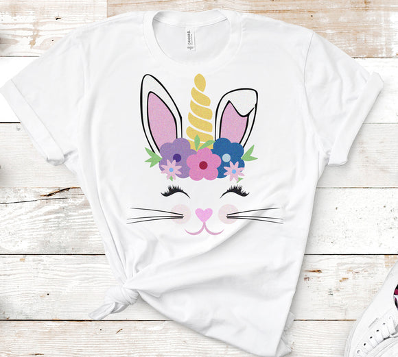 Floral Bunny Unicorn SVG, EPS, DXF and PNG - JenCraft Designs