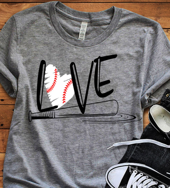 Baseball Love Design SVG, EPS, DXF and PNG - JenCraft Designs