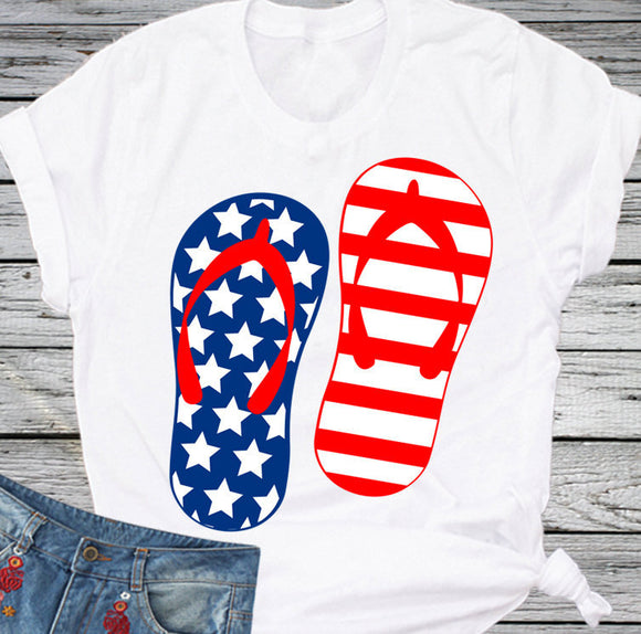 American Flag Flip Flops SVG, EPS, DXF and PNG - JenCraft Designs