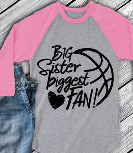Basketball Big Sister Biggest Fan SVG, EPS, DXF and PNG - JenCraft Designs