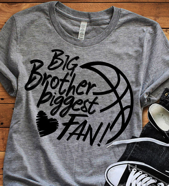 Basketball Big Brother Biggest Fan SVG, EPS, DXF and PNG - JenCraft Designs
