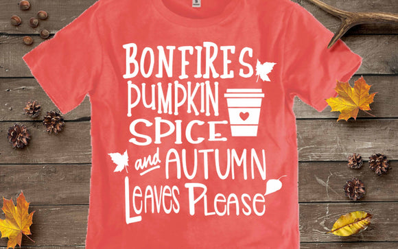 Bonfires Pumpkin Spice Autumn Leaves SVG, EPS, DXF and PNG - JenCraft Designs