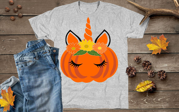 Pumpkin Unicorn SVG, EPS, DXF and PNG - JenCraft Designs