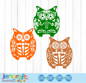 Owl Sugar Skull SVG, EPS, DXF and PNG - JenCraft Designs