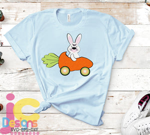 Bunny in Carrot Car SVG, EPS, DXF and PNG - JenCraft Designs