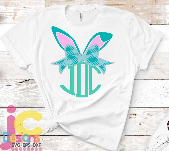 Plaid Bunny Bow Ears Monogram Frame SVG, EPS, DXF and PNG - JenCraft Designs